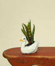 Vintage Metal Swan Planter With Snake Plant Dollhouse Miniature 1:12