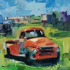 JOSE TRUJILLO Impressionism OIL PAINTING RED ORANGE OLD VINTAGE TRUCK MODERN ART