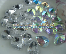 13x18mm steeple faceted water drop Clear Ab Acrylic Diamante Rhinestones sew Me