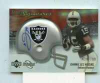 JOHNNIE LEE HIGGINS  2007 Upper Deck Sweet Spot Helmet Rookie Auto #D /799