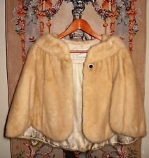 MINK Fur Vintage Butter Scotch Cape Jacket Coat Women's Size S/M