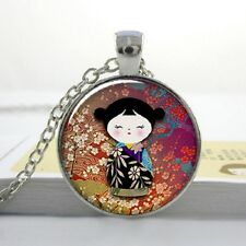JAPANESE GEISHA GIRL PENDANT NECKLACE Silver Jewellery Gift Idea Flower Blossom