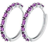 18K White Gold Zircon Crystal Round Dangle Earrings Amethyst Hoop Lady Earrings