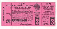 1971 NATIONAL LEAGUE CHAMPIONSHIP PITTSBURGH PIRATES GAME 3 TICKET STUB NM RED