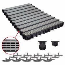 10m Entwässerungsrinne für modulares System A15 98mm, komplett Grau Line