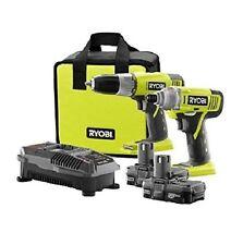 * Ryobi P882 ONE+ 18V Li-Ion Cordless Drill Driver and Impact Driver Kit, 2-Tool