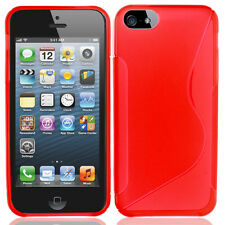 For Apple iPhone 5 5S SE TPU Candy S-Line Flexi Gel Skin Case Cover Red S-Shape