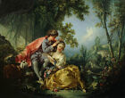 Art Beautiful Oil painting francois boucher - Young lovers shepherdess in spring