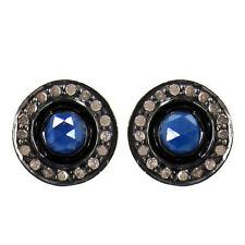 14K Gold Diamond Pave Blue Sapphire Stud Earrings 925 Sterling Silver Jewelry