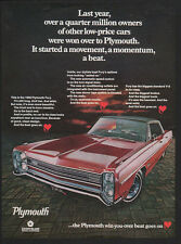 1968 Red PLYMOUTH FURY Hardtop Muscle Car VINTAGE AD