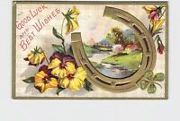 ANTIQUE POSTCARD GOOD LUCK AND BEST WISHES HORSE SHOE PANSIES CLOVER PASTORAL SC