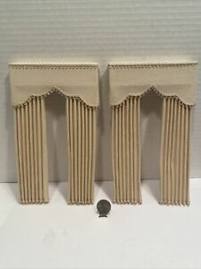 Vintage Artisan Cream Colored Drapes with Cornice Dollhouse Miniature 1:12 EUC