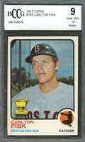 1973 topps #193 CARLTON FISK boston red sox (2nd year card)(CENTERED) BGS BCCG 9