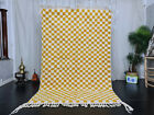 "Beni Ourain Moroccan Handmade Rug 5'3""x8'3"" Checkered Berber Yellow White Rug"