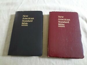 NASB Updated Edition Bible Faux Leather Cover 1997 Black and Burgundy lot of 2