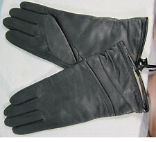Leather Gloves Med Black All Acrylic Beige  Lining Long Cuff  NWT