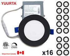 "YUURTA (16-pack) 4"" 10W Dimmable Recessed Ceiling Slim LED Downlight Black Trim"