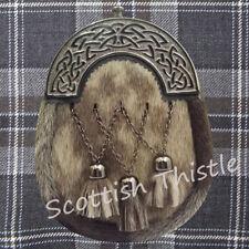Men's Full Dress Kilt Sporran Leather Seal Skin Celtic Cantle Antique Scottish