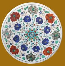 """15"""" Marble Corner Table Semi Precious Stone Pietra Dura  Home Decor Gift"""