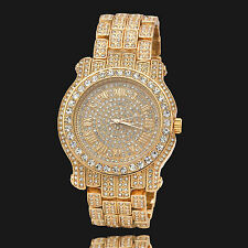 Men Hip Hop Iced out Gold Tone Techno Pave Bling Simulated Diamond Rapper Watch1