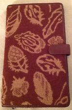 NWT Pendleton Brown Leaves Wool Leather Travel Case Wallet EReader