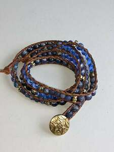 """Blue Brown Beaded Wrap Bracelet 25"""" Handmade Mix of Stones and Beads"""