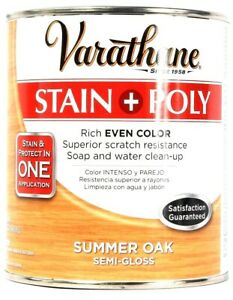 1 Can Varathane 32 Oz Stain & Poly 266152 Summer Oak Semi Gloss Rich Even Color