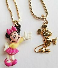 2 DISNEY Mickey AND Mini Mouse Pendant on 20 & 16 Inch Chain Necklaces SIGNED