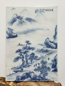 Fine Old Chinese Porcelain Blue&White Plaque { Landscape}