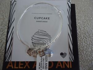 Alex and Ani CUPCAKE II Shiny Silver Charm Bangle New W/Tag Card & Box