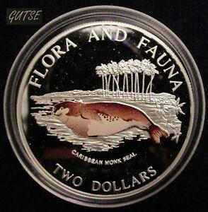 THE BAHAMAS, 2 DOLLARS 1995, CARIBBEAN MONK SEAL, SILVER, PROOF.