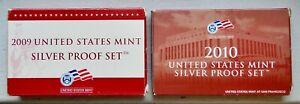 2009 & 2010 U.S. SILVER PROOF SETS (32 COINS) OGP/COA