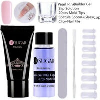 Pear Pink Nail Poly Building Gel Slip Solution Cip Tips Files Spatula Stick Sets