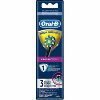 NEW 3 Pack Oral-B Cross Action Replacement Toothbrush Heads ~ Black