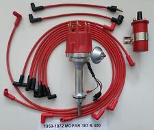 small cap MOPAR 1959-72 383 400 RED HEI Distributor + 45K Red Coil + Plug Wires