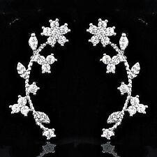 """18k White Gold..Swarovski Crystal..1"""". Crawler Climber Stud Earrings..Gift Boxed"""