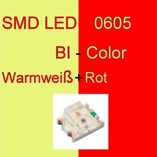 1/10/20 Stück SMD LED 0605 Bi-Color Warmwei�Ÿ/Rot Duo LED Bicolor C3248