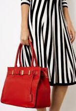 KAREN MILLEN RED BUCKLE LEATHER HANDBAG TOTE LARGE BAG NEW!!!