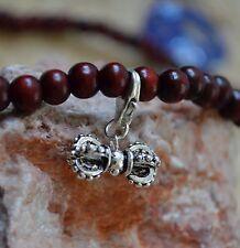 Silver Vajra  Dorje with Cherry Wood Beaded Bracelet Mala