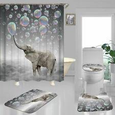 Cute Bubble Elephant Door Bath Mat Toilet Cover Rugs Shower Curtain Bathroom Art