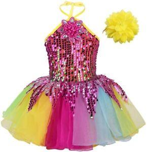 Kids Girls Sequin Ballet Tutu Dance Dress Outfits Dress Gymnastics Leotard