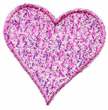 HEARTS - PINK SPARKLY HEART -Iron On Embroidred Applique/Valentines, Love,Heart