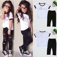 Kids Girl 2PCS Outfit Set T-shirt Tops + Ripped Trousers Pants Fashion Clothes