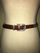 BRIGHTON Brown Leather Plastic Tortoise Square Linked Belt sz M # 42107 USA