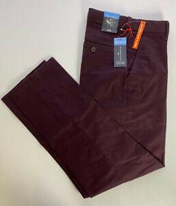 """M&S Blue Harbour Cotton Active Waist STRETCH Burgundy Trousers W32"""" L29"""" RRP £35"""