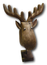 Wooden Vintage Handmade Decor Figure Wall Moosehead Stand Statue Mango Wood NEW