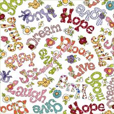"""QT LORALIE HARRIS """"HAPPY CATS"""" 24417-Z LARGE WORDS FABRIC PRICED PER 1/2 YARD"""