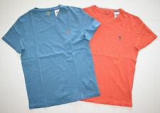 New Men's Polo Ralph Lauren Lot of 2 T-shirt, V-Neck, Blue, Orange, M, Medium