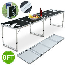 8Ft Folding Beer Pong Table Portable Lightweight & Easy Wipe Surface Black CAN