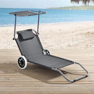Sonnenliege mit Sonnendach + Rollen Gartenliege Strandliege Transportliege Liege